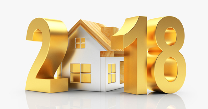Golden 2018 New Year and house on white